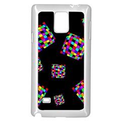 Flying  Colorful Cubes Samsung Galaxy Note 4 Case (white) by Valentinaart