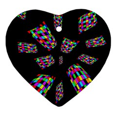 Colorful Abstraction Ornament (heart)  by Valentinaart