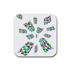 Colorful Abstraction Rubber Coaster (square)  by Valentinaart