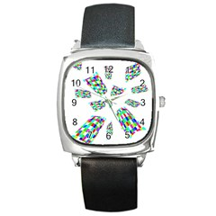 Colorful Abstraction Square Metal Watch by Valentinaart