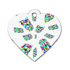 Colorful Abstraction Dog Tag Heart (two Sides) by Valentinaart