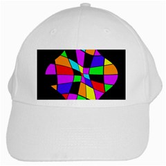 Abstract Colorful Flower White Cap