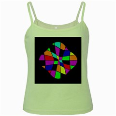 Abstract Colorful Flower Green Spaghetti Tank