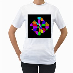 Abstract Colorful Flower Women s T Shirt (white) (two Sided) by Valentinaart