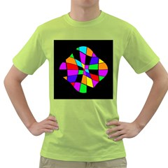 Abstract Colorful Flower Green T Shirt