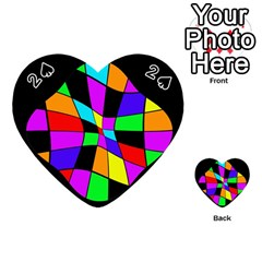 Abstract Colorful Flower Playing Cards 54 (heart)  by Valentinaart