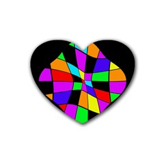 Abstract Colorful Flower Rubber Coaster (heart)  by Valentinaart