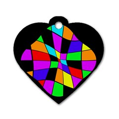 Abstract Colorful Flower Dog Tag Heart (one Side) by Valentinaart
