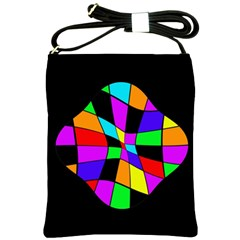 Abstract Colorful Flower Shoulder Sling Bags by Valentinaart