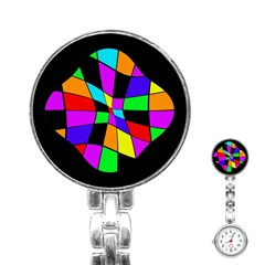 Abstract Colorful Flower Stainless Steel Nurses Watch by Valentinaart
