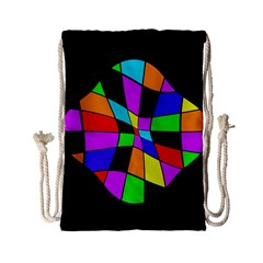 Abstract Colorful Flower Drawstring Bag (small) by Valentinaart