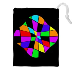 Abstract Colorful Flower Drawstring Pouches (xxl) by Valentinaart