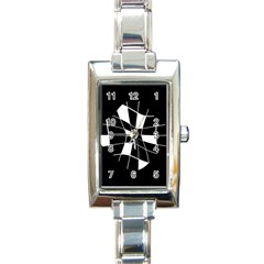 Black And White Abstract Flower Rectangle Italian Charm Watch by Valentinaart
