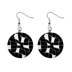 Black And White Abstract Flower Mini Button Earrings
