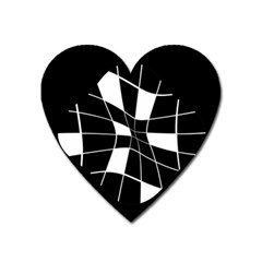 Black And White Abstract Flower Heart Magnet by Valentinaart