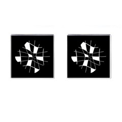 Black And White Abstract Flower Cufflinks (square) by Valentinaart