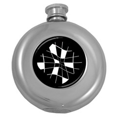 Black And White Abstract Flower Round Hip Flask (5 Oz) by Valentinaart