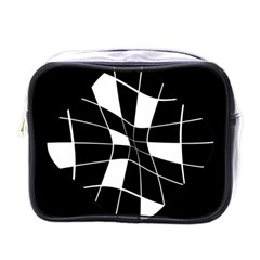Black And White Abstract Flower Mini Toiletries Bags by Valentinaart
