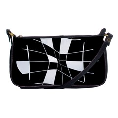 Black And White Abstract Flower Shoulder Clutch Bags by Valentinaart