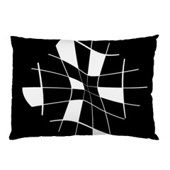 Black And White Abstract Flower Pillow Case (two Sides) by Valentinaart