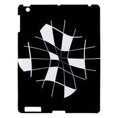 Black And White Abstract Flower Apple Ipad 3/4 Hardshell Case by Valentinaart