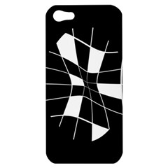 Black And White Abstract Flower Apple Iphone 5 Hardshell Case by Valentinaart