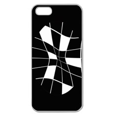 Black And White Abstract Flower Apple Seamless Iphone 5 Case (clear) by Valentinaart
