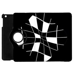 Black And White Abstract Flower Apple Ipad Mini Flip 360 Case by Valentinaart