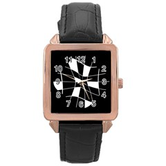 Black And White Abstract Flower Rose Gold Leather Watch  by Valentinaart