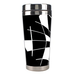 Black And White Abstract Flower Stainless Steel Travel Tumblers by Valentinaart