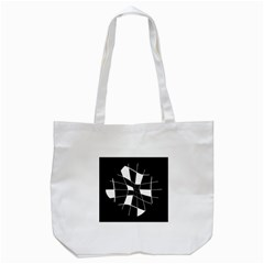 Black And White Abstract Flower Tote Bag (white) by Valentinaart