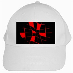 Red Abstract Flower White Cap
