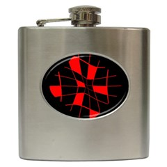 Red Abstract Flower Hip Flask (6 Oz) by Valentinaart