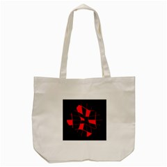 Red Abstract Flower Tote Bag (cream)
