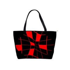 Red Abstract Flower Shoulder Handbags by Valentinaart