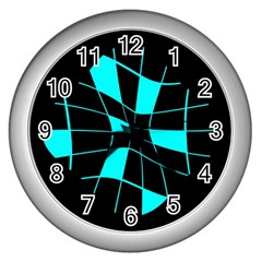 Blue Abstract Flower Wall Clocks (silver)  by Valentinaart