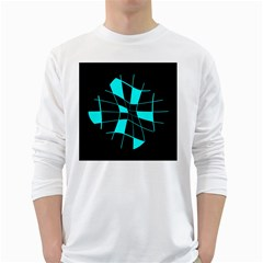 Blue Abstract Flower White Long Sleeve T Shirts by Valentinaart