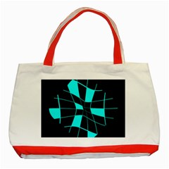 Blue Abstract Flower Classic Tote Bag (red) by Valentinaart