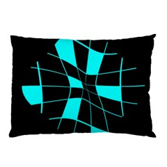 Blue Abstract Flower Pillow Case by Valentinaart