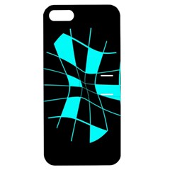 Blue Abstract Flower Apple Iphone 5 Hardshell Case With Stand by Valentinaart