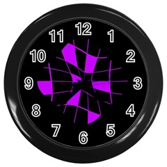 Purple Abstract Flower Wall Clocks (black) by Valentinaart