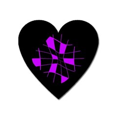 Purple Abstract Flower Heart Magnet by Valentinaart