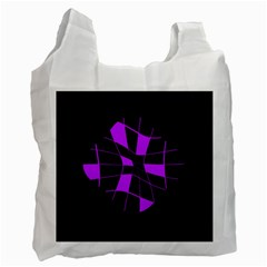 Purple Abstract Flower Recycle Bag (one Side) by Valentinaart