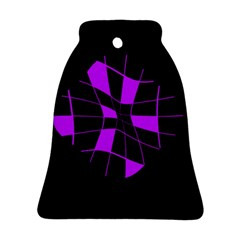 Purple Abstract Flower Bell Ornament (2 Sides) by Valentinaart