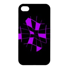 Purple Abstract Flower Apple Iphone 4/4s Premium Hardshell Case by Valentinaart