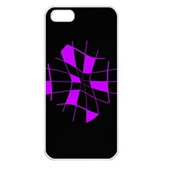 Purple Abstract Flower Apple Iphone 5 Seamless Case (white) by Valentinaart