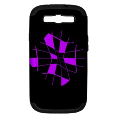 Purple Abstract Flower Samsung Galaxy S Iii Hardshell Case (pc+silicone) by Valentinaart