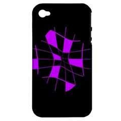 Purple Abstract Flower Apple Iphone 4/4s Hardshell Case (pc+silicone) by Valentinaart
