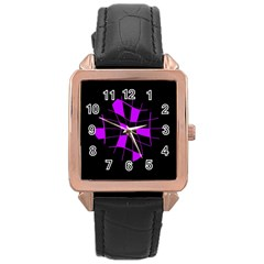 Purple Abstract Flower Rose Gold Leather Watch  by Valentinaart