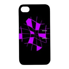 Purple Abstract Flower Apple Iphone 4/4s Hardshell Case With Stand by Valentinaart